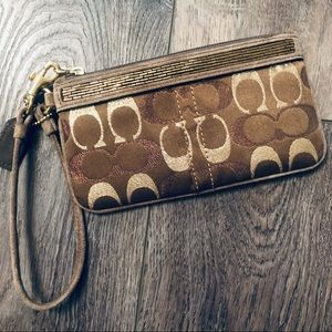 Coach Authentic Bronze/Gold/Tan Wristlet